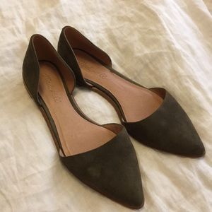 Madewell green suede flats